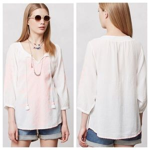 Anthropologie Maeve Neon-Stitched Peasant Blouse